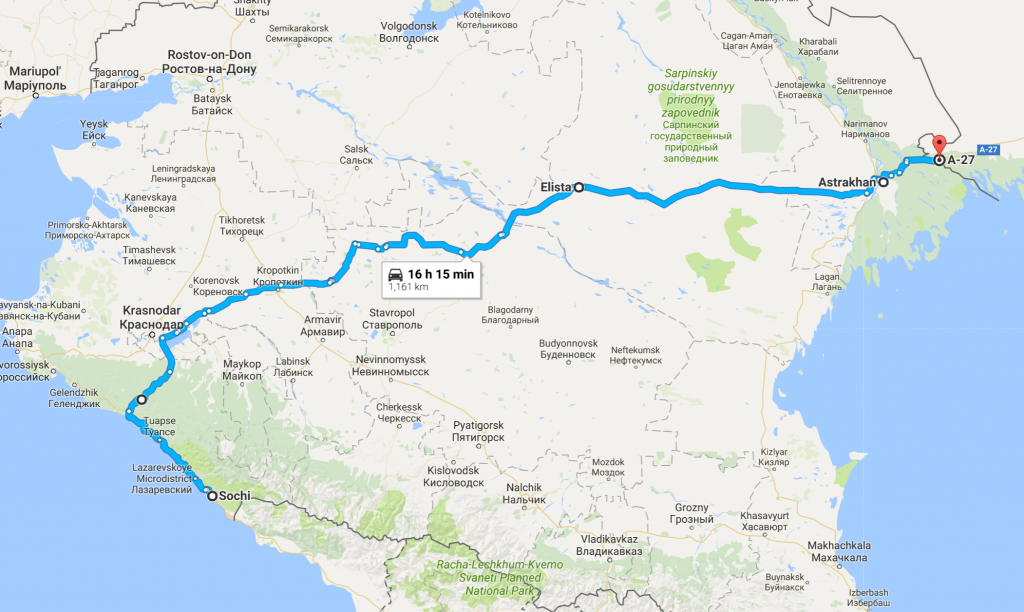 Route from Sochi to Kazakhstan Border