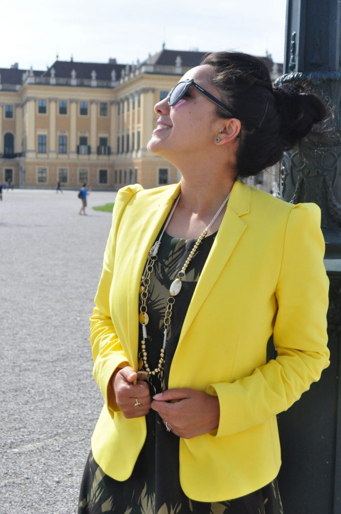 Camouflage Dress with Yellow Blazer