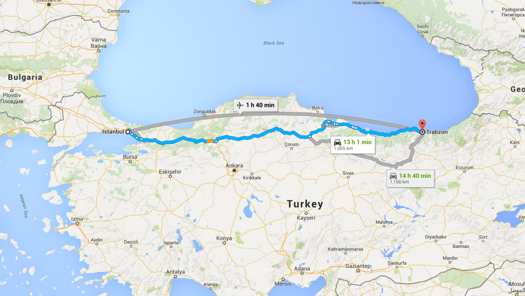 Istanbul to Trabzon 1000+ KMs Route