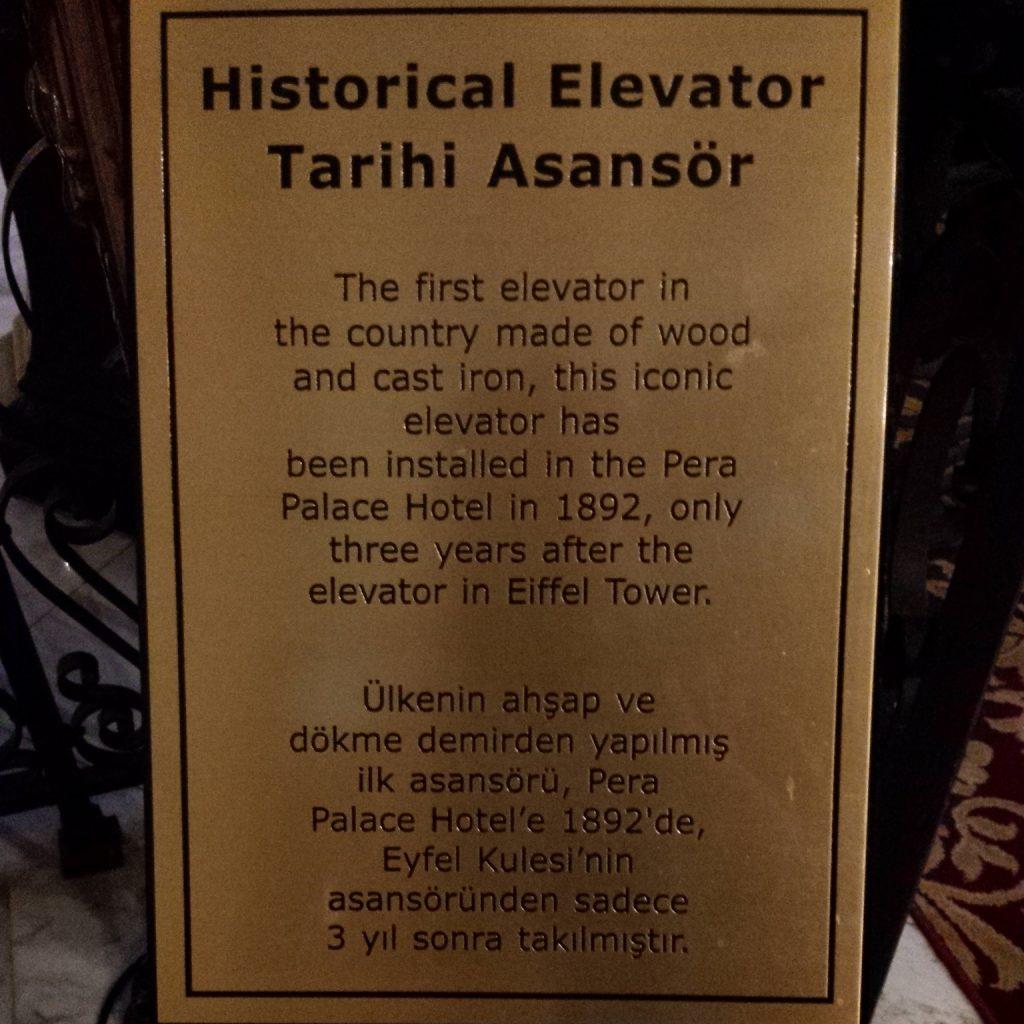 Pera Palaca Hotel Jumeirah Historic Elevator Tarihi Asansor