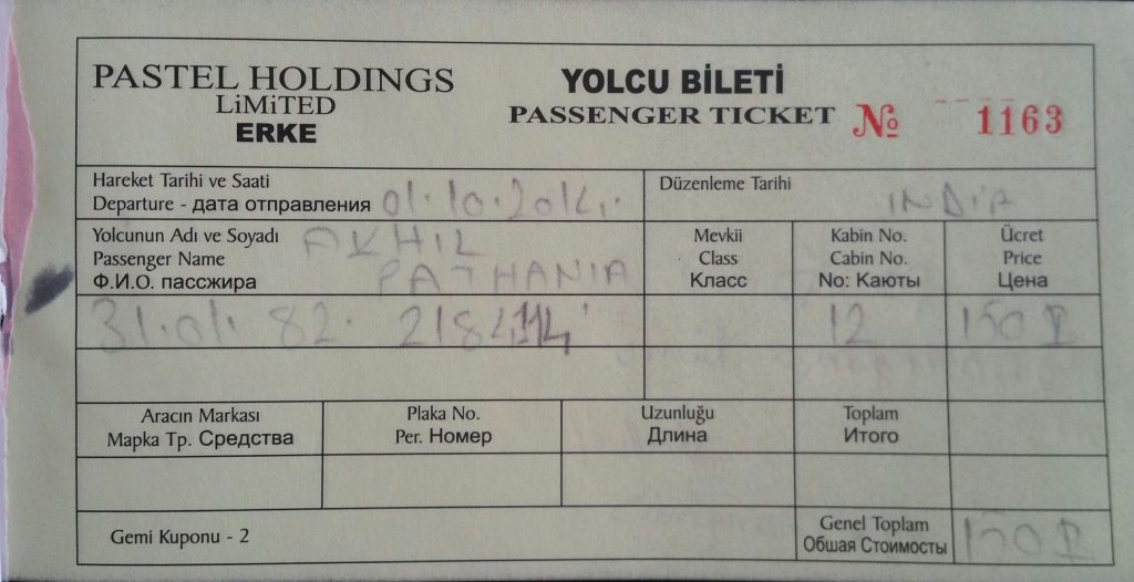 Ticket For Ferry From Turkey To Russia