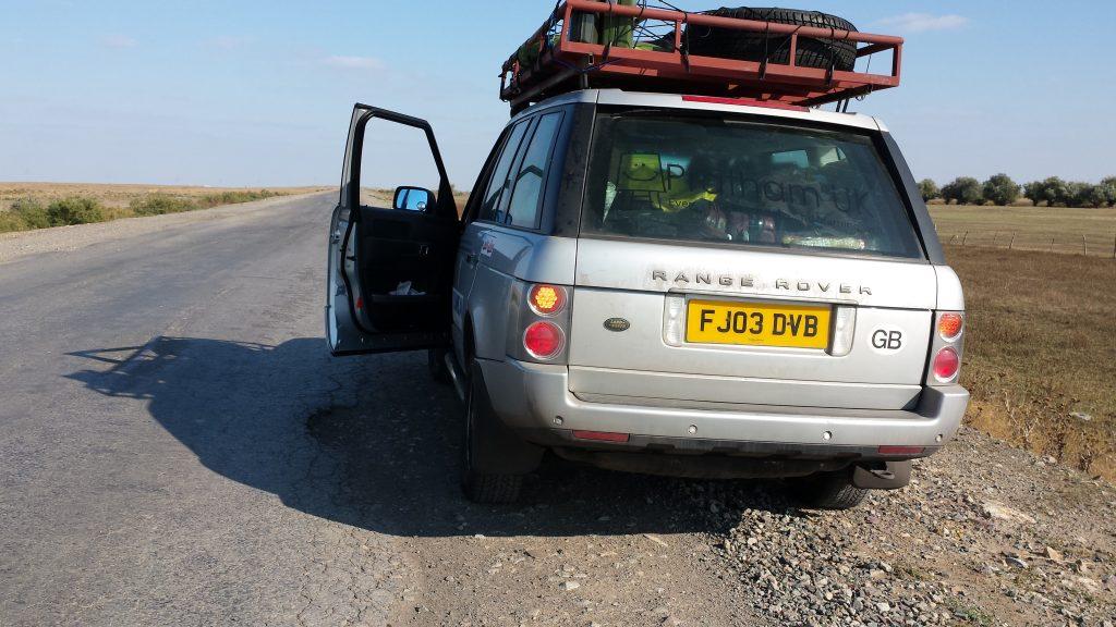 Kazakhstan Road - Driving on the Shoulder